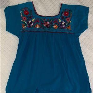 blue floral top!!